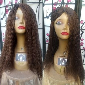 "22"" Kinky Straight Human Blend Hair wig"